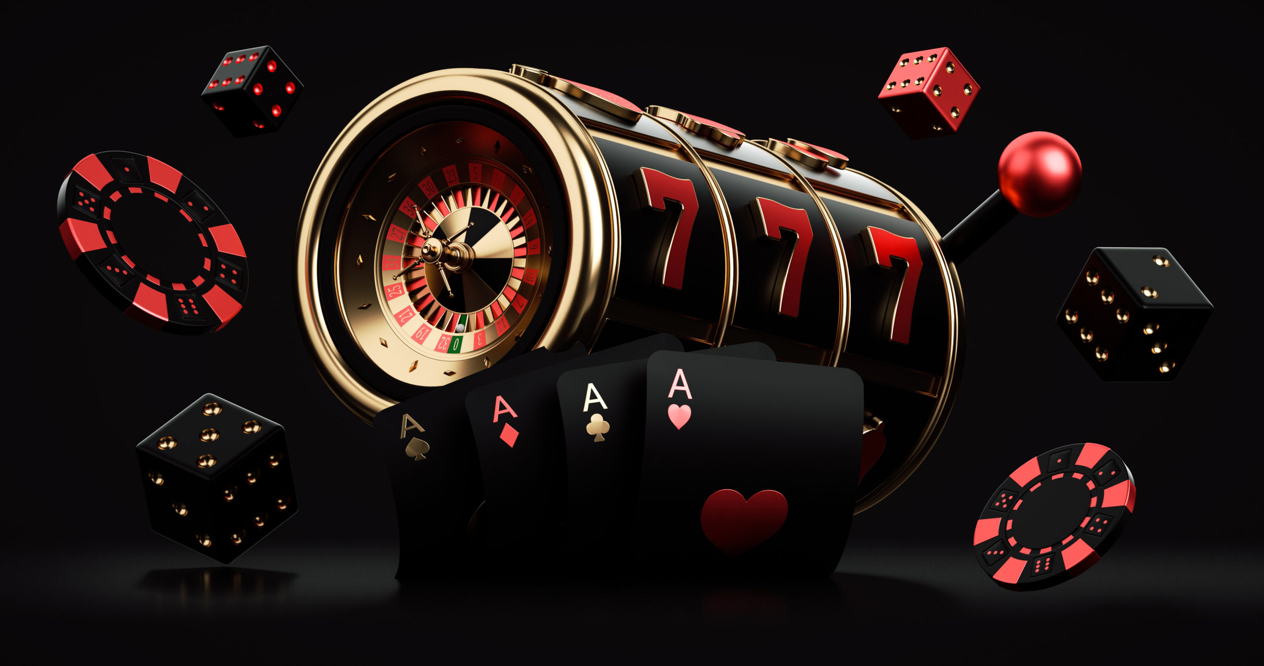 Black,Red,And,Golden,Slot,Machine,With,Roulette,Wheel,Inside,